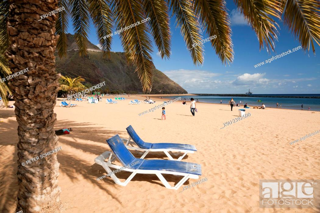 Stock Photo: beach chairs at Playa de Las Teresitas near San Andres, Tenerife, Canary Islands, Spain, Europe.