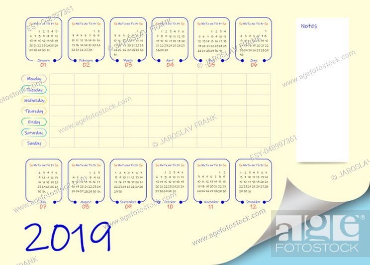 Stock Photo: School or business calendar for the 2019 year and blank weekly planner on light yellow background. Vector contains page curl effect with a place for your text.