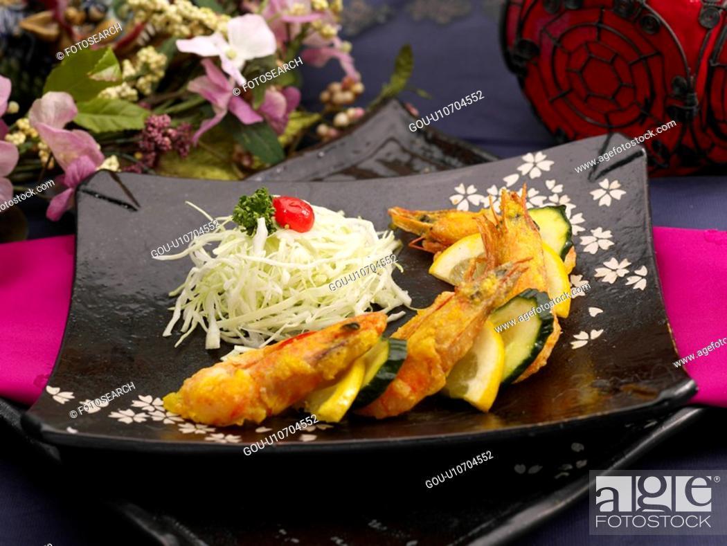 Stock Photo: table napkin, food styling, table mat, tableclothe, decoration, lemon shrimp.