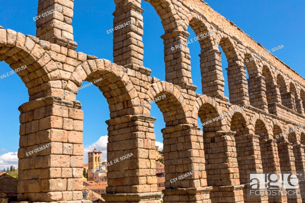 Stock Photo: Segovia Aqueduct, ruins of ancient Rome, Segovia, Spain.
