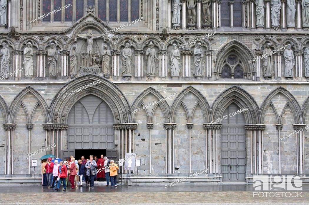 Stock Photo: Facade of Nidaros Cathedral, Trondheim City, Nord-Trondelag Region, Norway, Scandinavia, Europe.