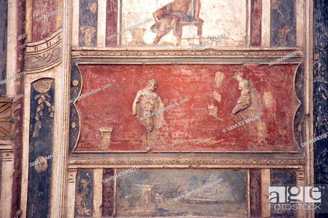 Stock Photo: Italy, Naples, Naples Museum, from Pompeii, House of Meleager VI 9, Stucco Policromo Polychrome.