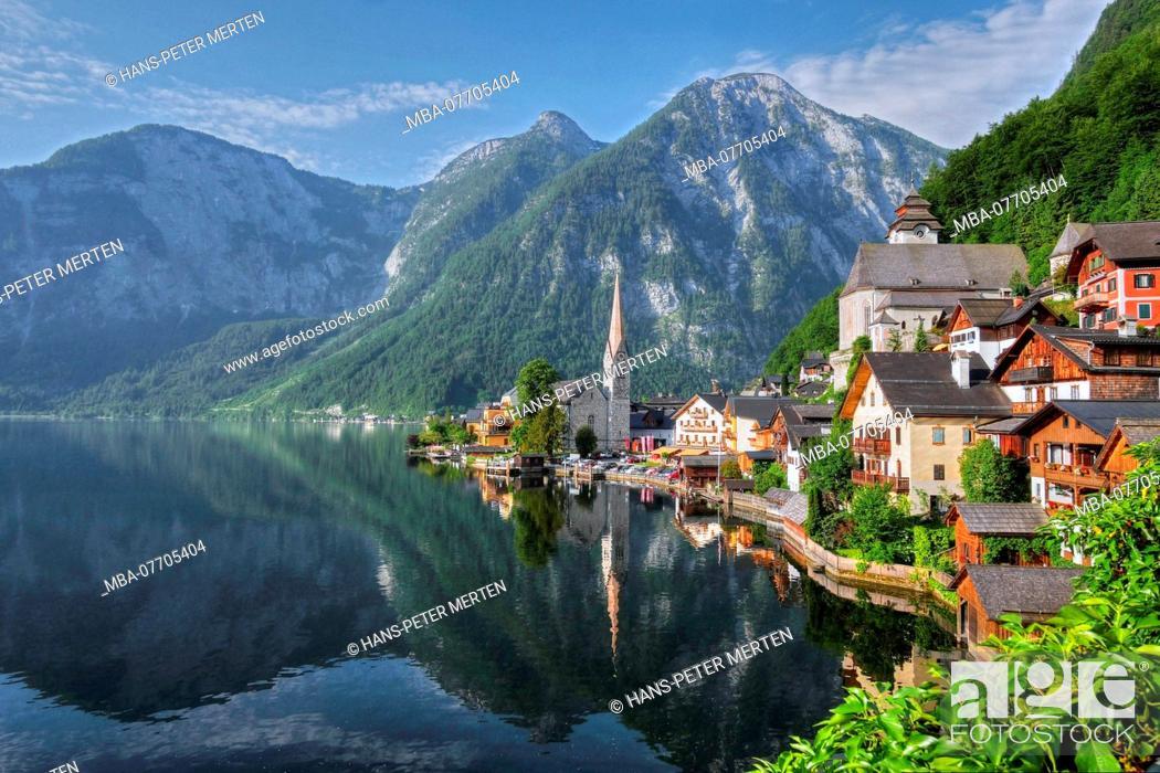 Stock Photo: Hallstatt at Lake Hallstatt, Salzkammergut, Upper Austria, Austria.