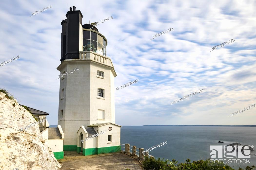 Stock Photo: St Anthony Head Lighthouse on Cornwall's Roseland Peninsula captured from near the properties entrance using a wide angle lens.