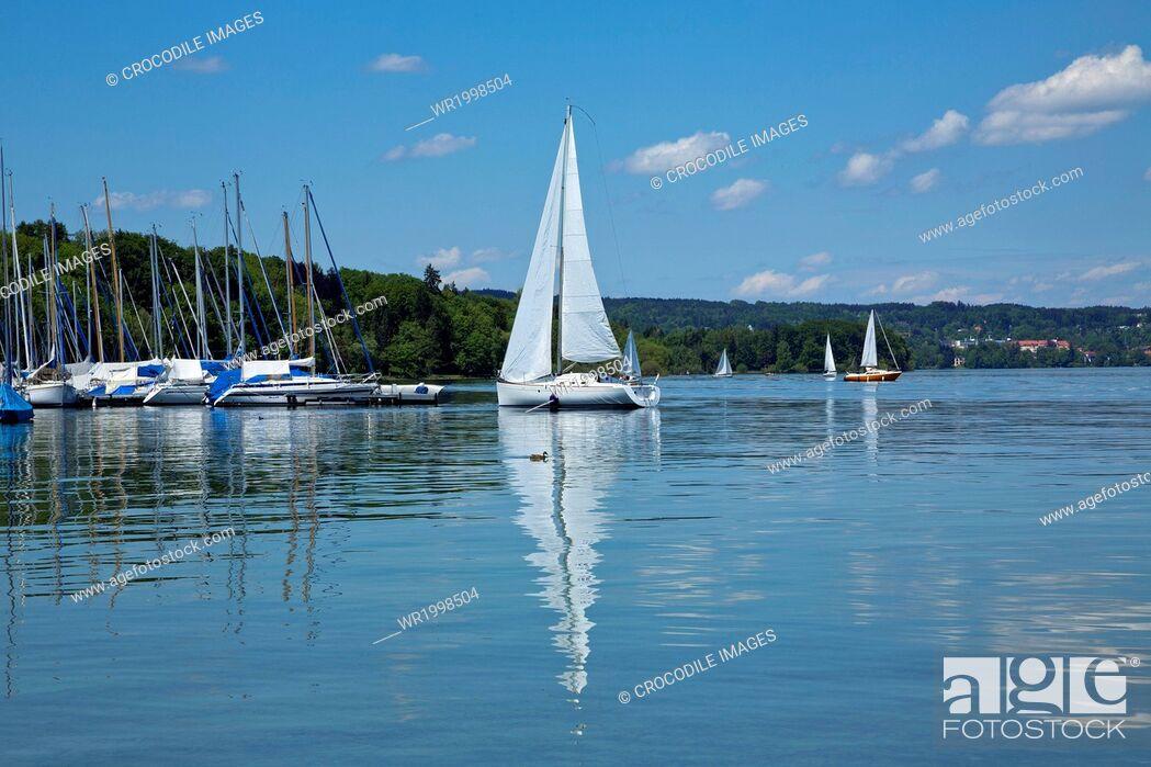 Stock Photo: Abounding, Abundance, Bank, Bavaria, Bernried, Bernried At Lake Starnberg, Bliss, Blissful, Boat, Bodies Of Water, Body Of Water, Cloud, Day, Daylight, Daytime.