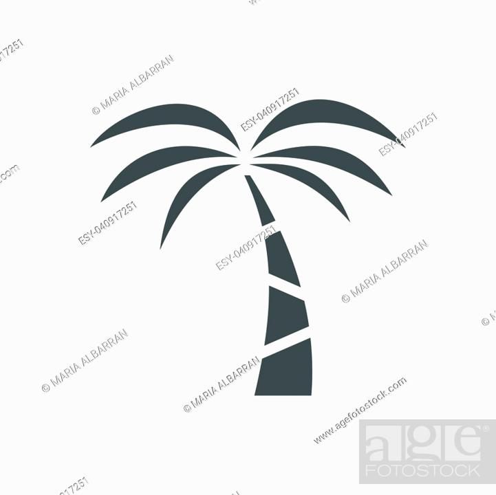 Vector: Palm tree icon on a white background. Vector illustration.