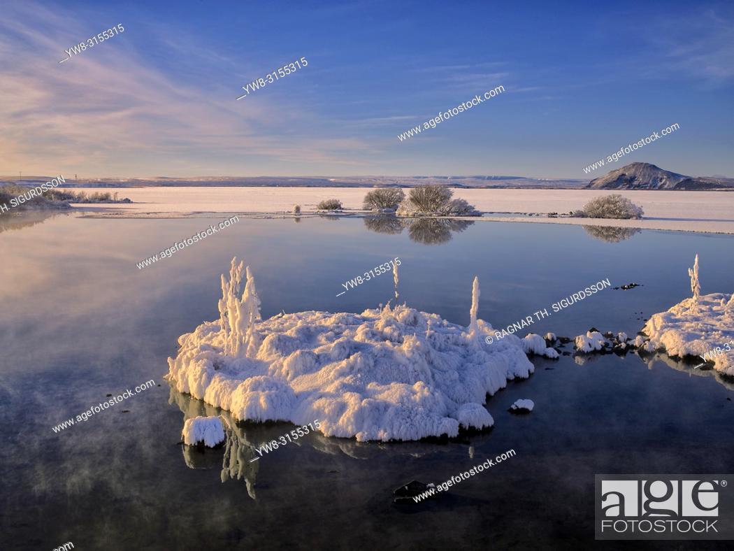 Stock Photo: Winter, Lake Myvatn, Iceland.