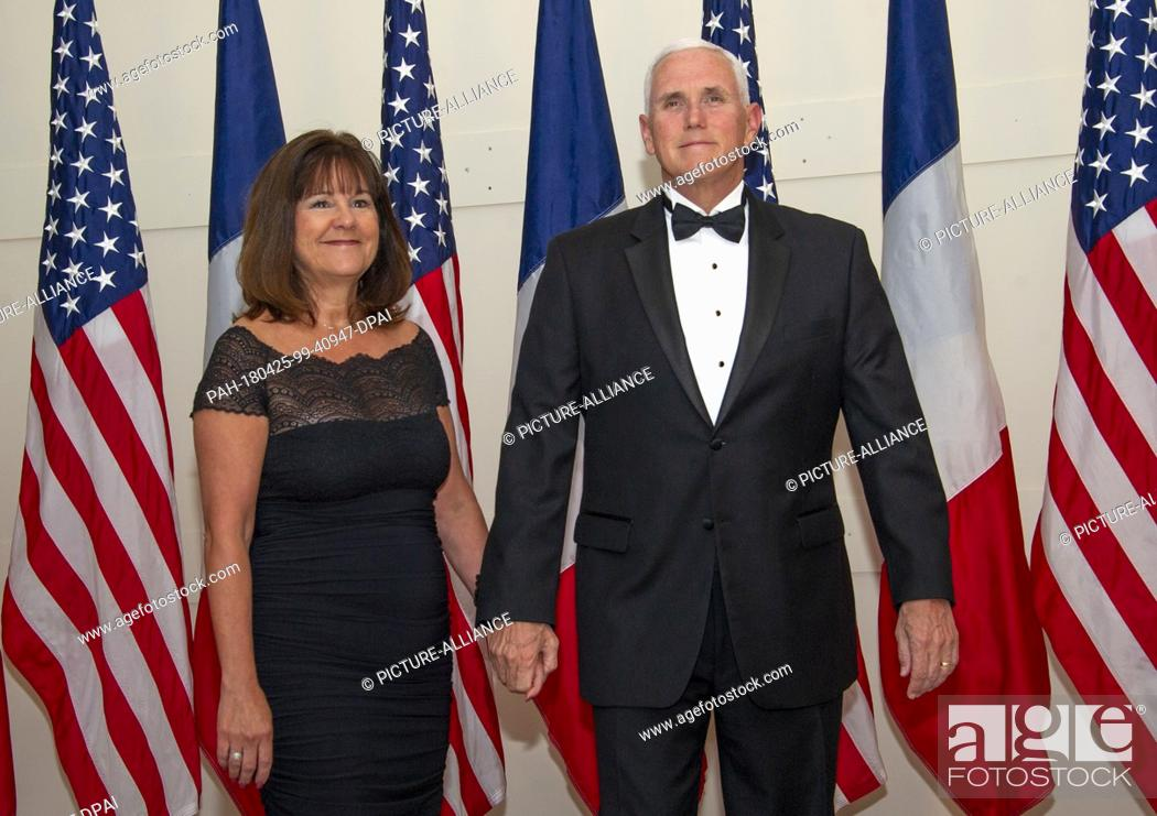 Stock Photo: United States Vice President Mike Pence and Mrs. Karen Pence arrives for the State Dinner honoring Dinner honoring President Emmanuel Macron of the French.