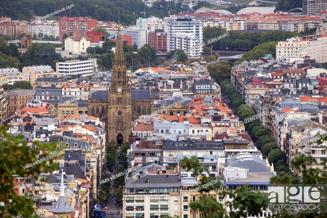 Stock Photo: Spain, Basque Country, Guipuzcoa province (Guipuzkoa), San Sebastian (Donostia), European capital of culture 2016, Buen Pastor cathedral view from Urgull Mount.