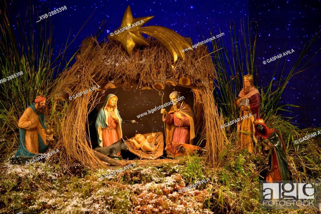 Stock Photo: Nativity scene with baby Jesus, Virgin Mary, Saint Joseph and the Three Wise Men.