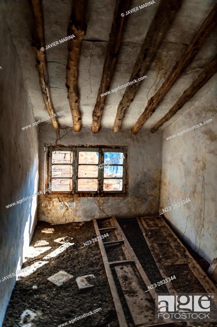 Stock Photo: Abandoned village of Vizcota, Alpuente, Valencia, Spain.