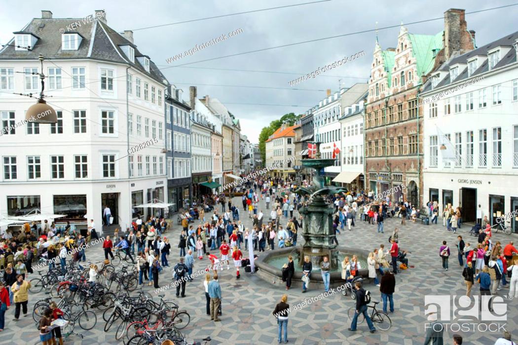 Stock Photo: Looking up Stroget from Hojbro Plads, Copenhagen, Denmark.