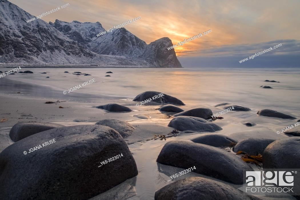 Stock Photo: Unstad, Lofoten, Norway, Europe.