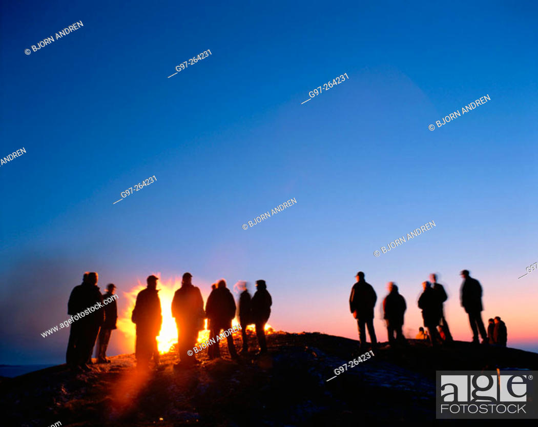 Stock Photo: Bonfire at small island in the archipelago of Bohuslän. Sweden.