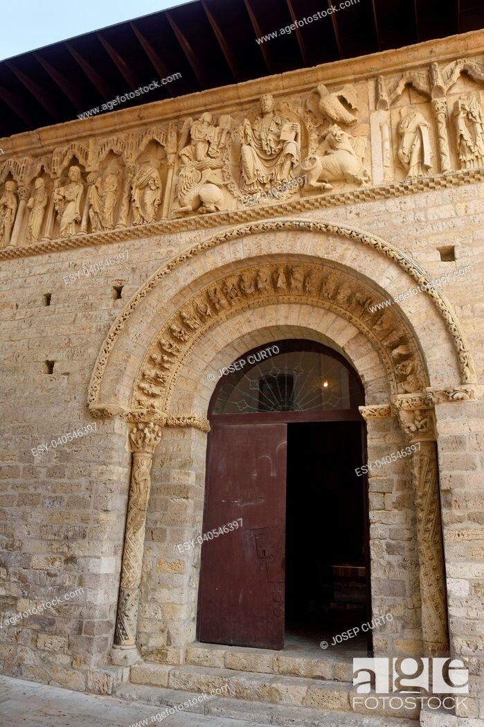 Stock Photo: Detail of portico of Santiago church, Carrion de los Condes, Palencia province, Spain.