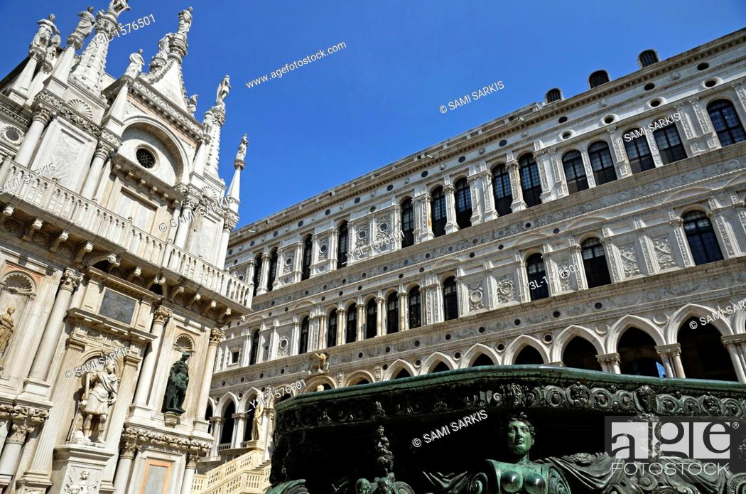 Fountain At Doges Palace Courtyard Venice Italy Stock Photo