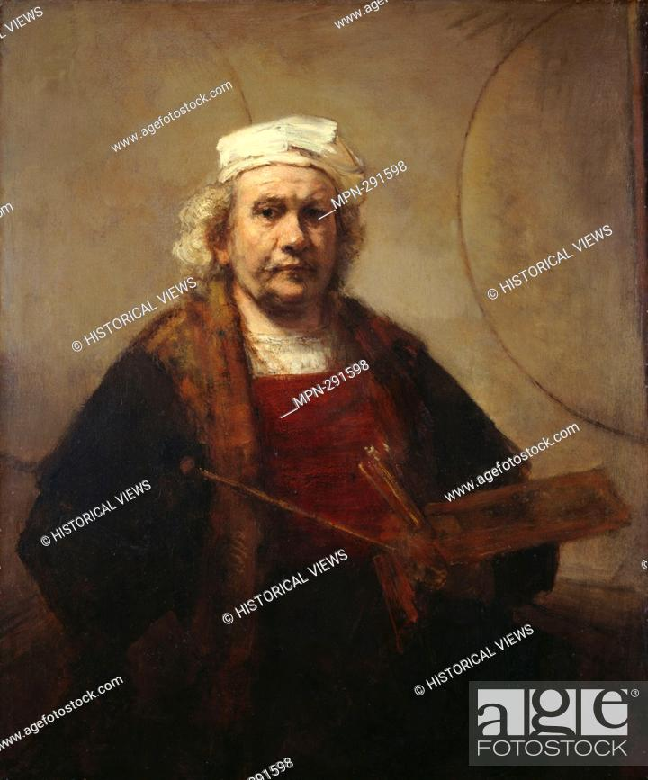 Stock Photo: Self portrait with two circles (c. 1665-69), by Rembrandt van Rhijn (1606-1669) :.