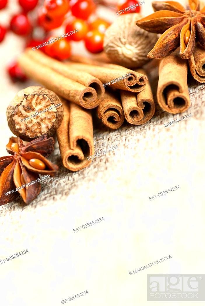 Photo de stock: Cinnamon sticks, anise stars and nutmegs with red berry decorations.