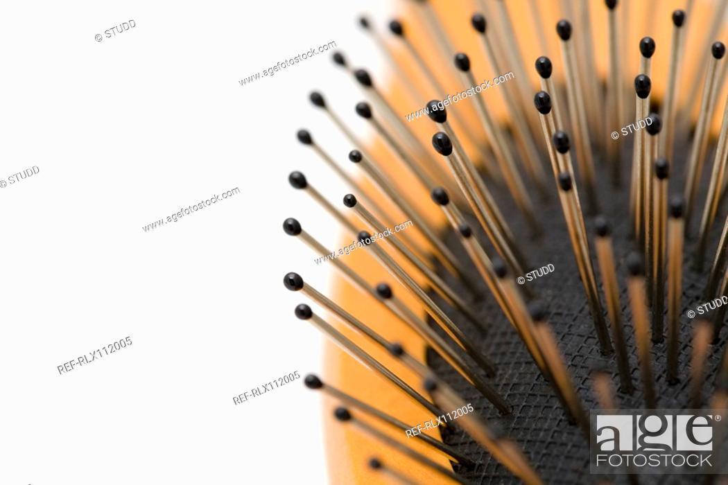 Stock Photo: Close up of hair brush bristles.