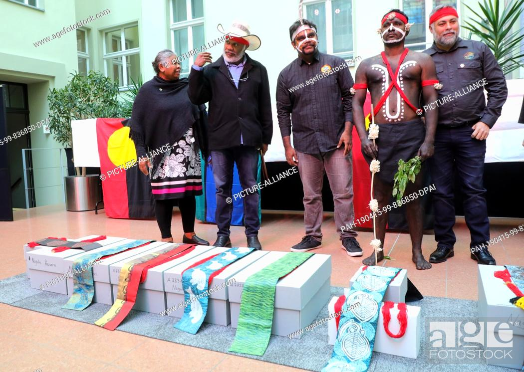 Stock Photo: 15 April 2019, Berlin: Native Australians, Aborigines, participate in the return of the remains of indigenous Australians from the State Ethnographic.
