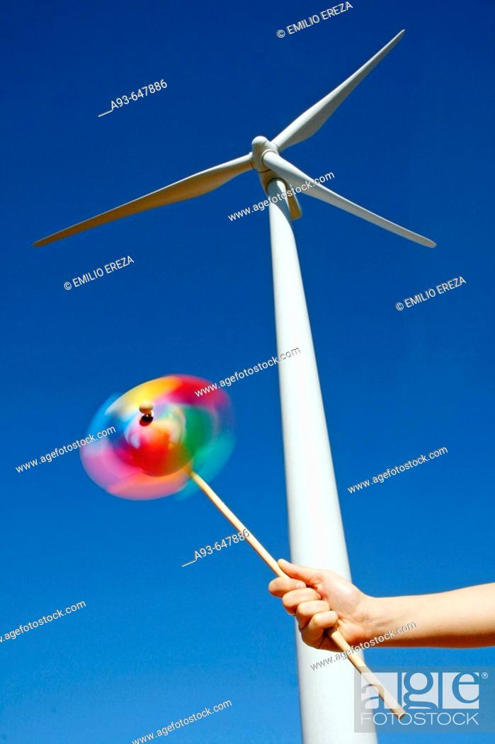 Stock Photo: Wind turbine. Serra del Tallat. Tarragona province, Spain.