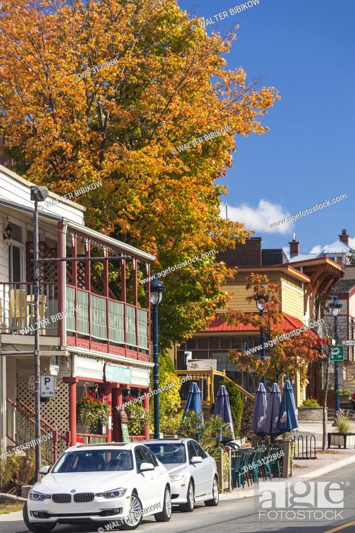 Stock Photo: Canada, Quebec, The Laurentians, Sainte Agathe Des Monts, town center, autumn.