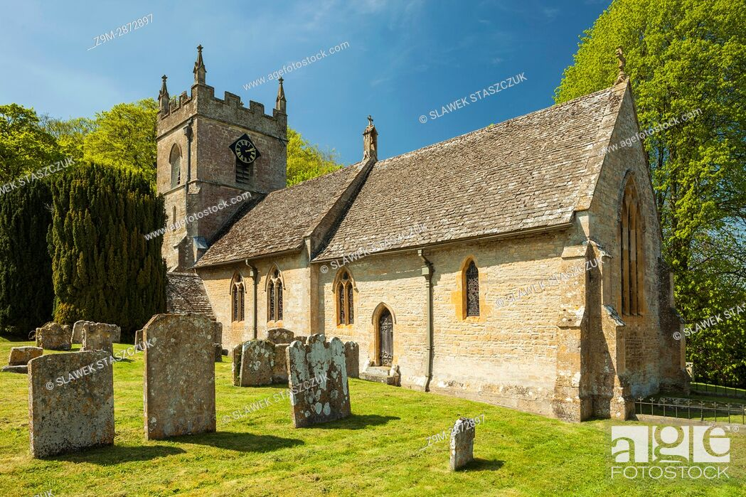 Stock Photo: Spring afternoon at Upper Slaughter village in the Cotswolds, Gloucestershire, England.