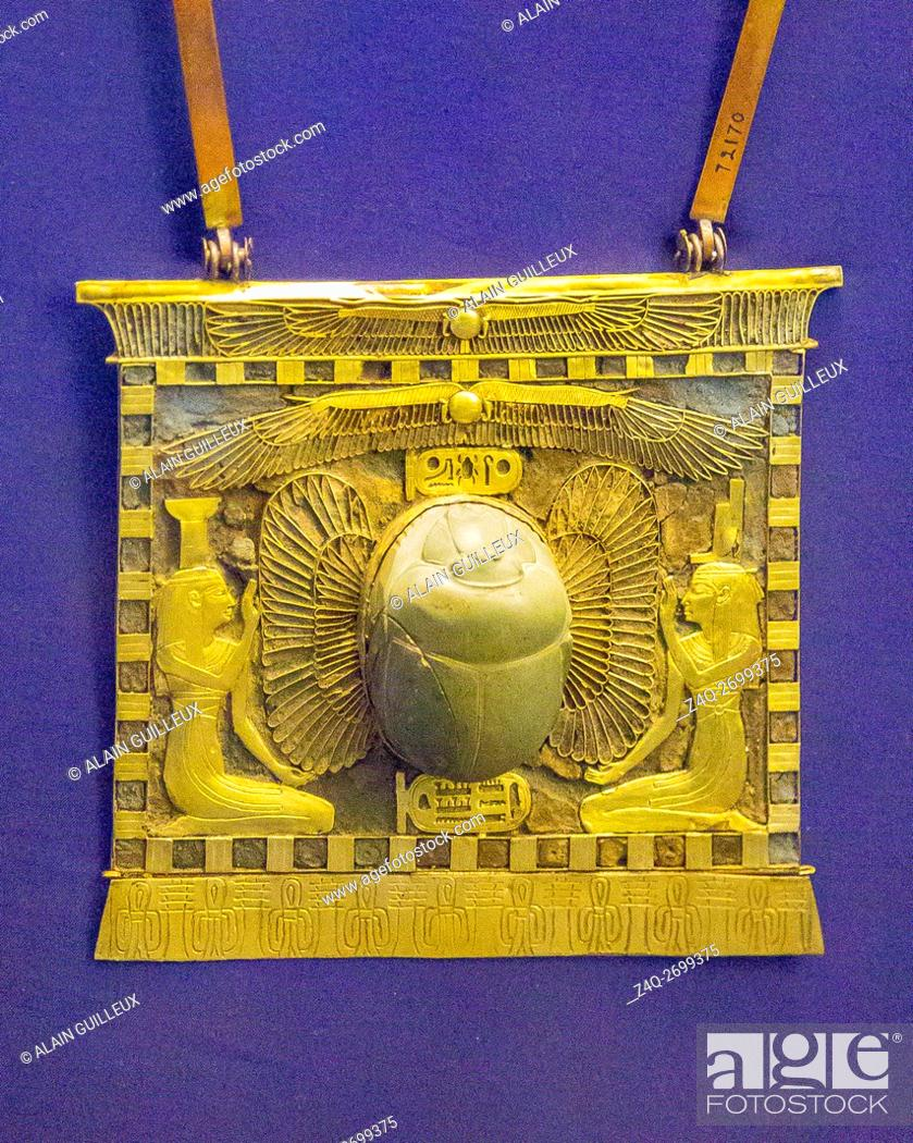 Stock Photo: Egypt, Cairo, Egyptian Museum, jewellery found in the royal necropolis of Tanis, burial of king Chechonq II : Pectoral in the form of a temple pylon.