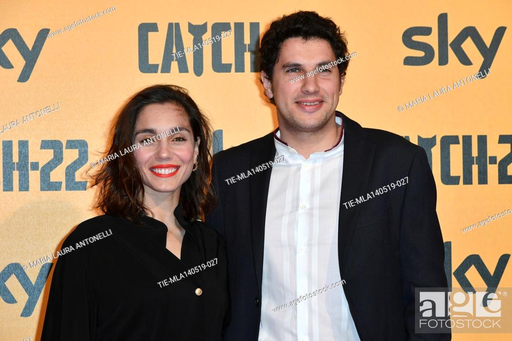 Photo de stock: Cristiana Dell'Anna with husband Emanuele during the Red carpet for the Premiere of film tv Catch-22, Rome, ITALY-13-05-2019.