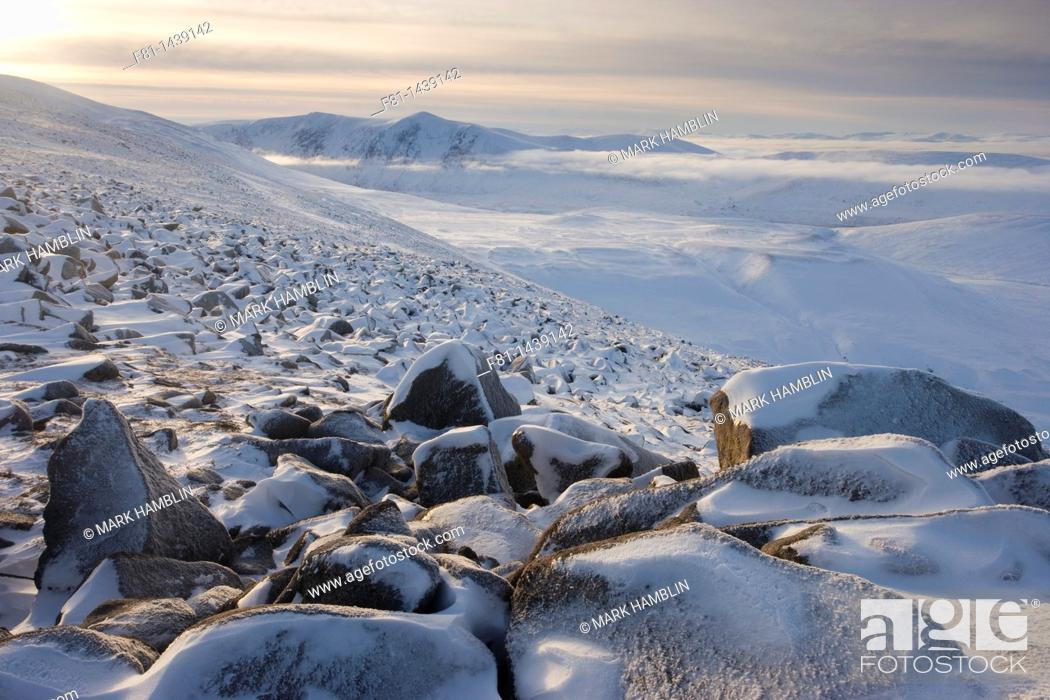 Stock Photo: Winter view from Creag Chalamain to Sgor Gaoith, Grampian Mountains, Cairngorms National Park, Scotland, January.