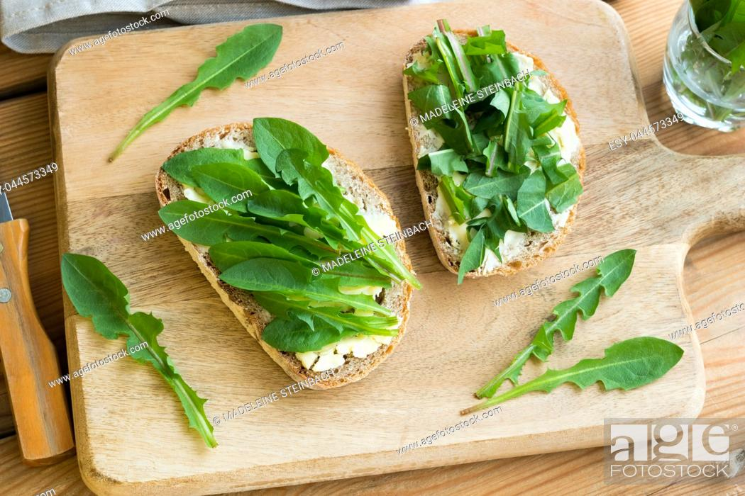 Stock Photo: Two slices of sourdough bread with butter and fresh dandelion leaves.