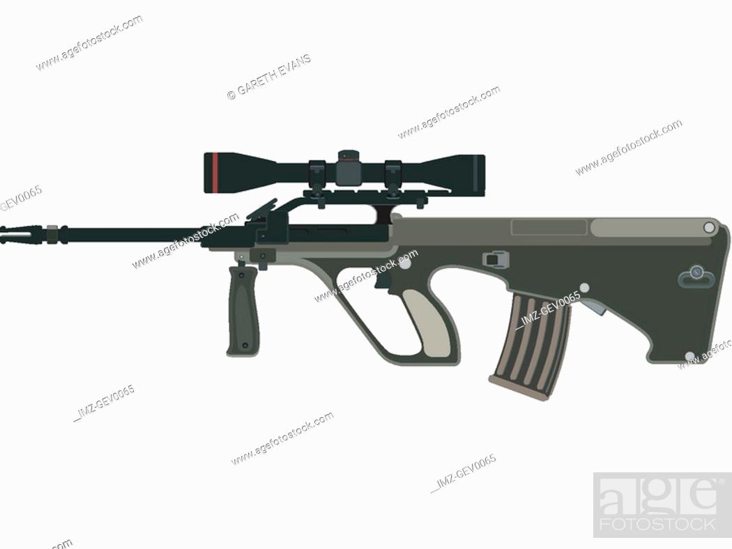 Stock Photo: A picture of a steyr AUG rifle against a white background.