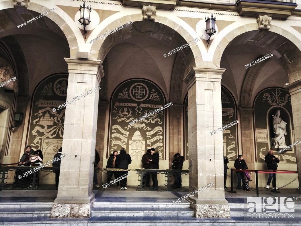 Stock Photo: Santa Maria de Montserrat Abbey, pilgrims, Barcelona, Catalonia, Spain, Europe.
