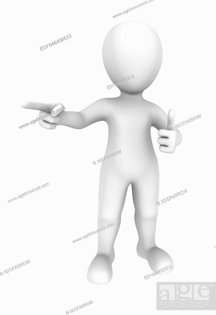 Imagen: 3d man shows thumbs up gesture and pointing finger. 3d rendered illustration with small people.