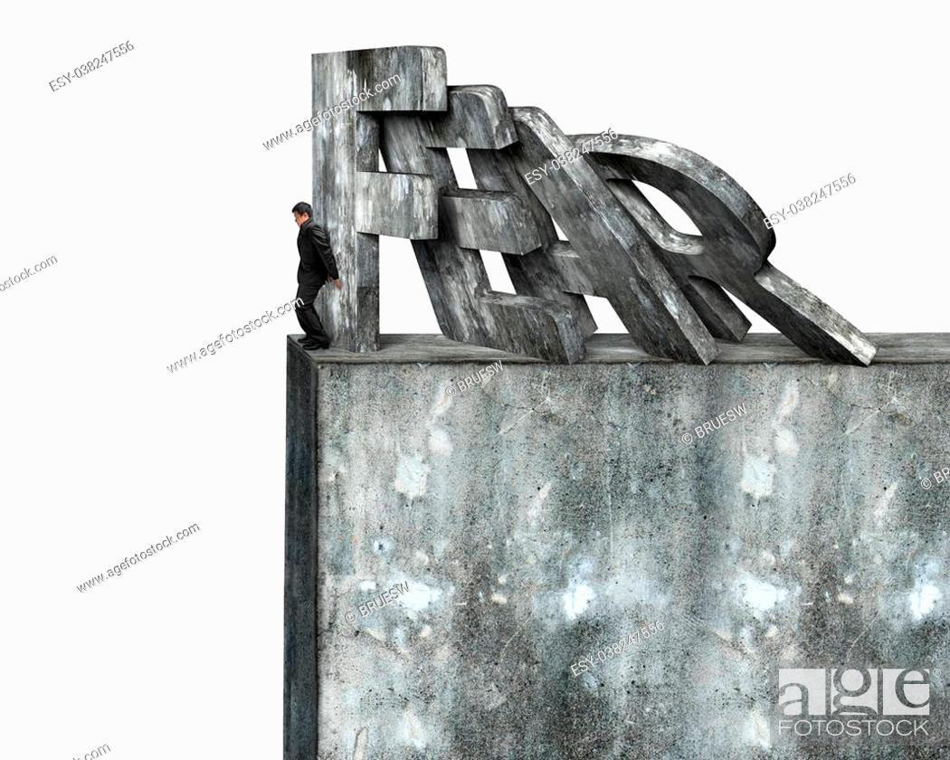 Stock Photo: Businessman stopping domino of red fear word falling on top of concrete wall, isolated on white. Domino effect and problem solving of concepts.