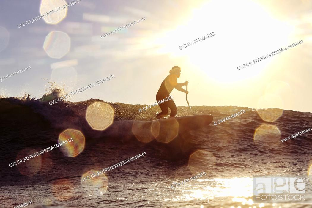 Photo de stock: Male SUP surfer at sunset time.