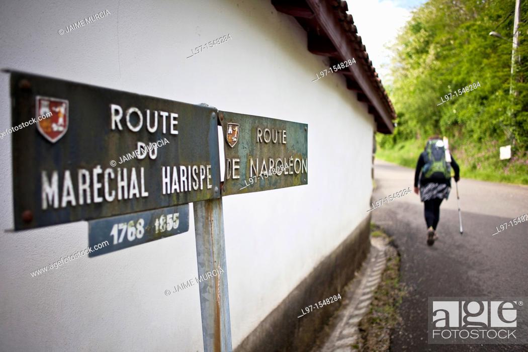 Stock Photo: Walking the route de Napoleon near the village of St Jean Pied de Port France.