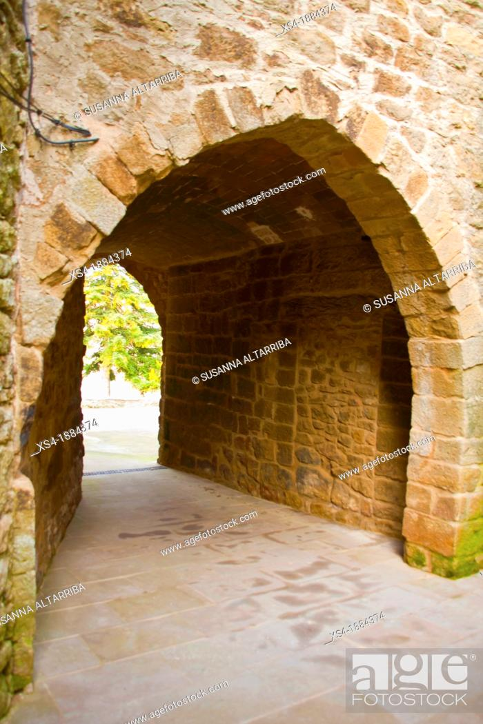 Stock Photo: Dark street of Su  Popular style, thirteenth century   Small medieval street, covered with a vault  It has two arches, one input street semicircular segments.