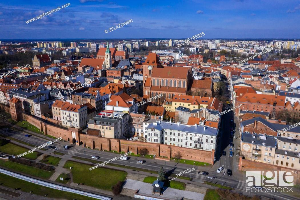 Stock Photo: Aerial view on the Old Town in Torun city in Kuyavian Pomeranian Voivodeship of Poland, view with Cathedral and Holy Spirit Church.