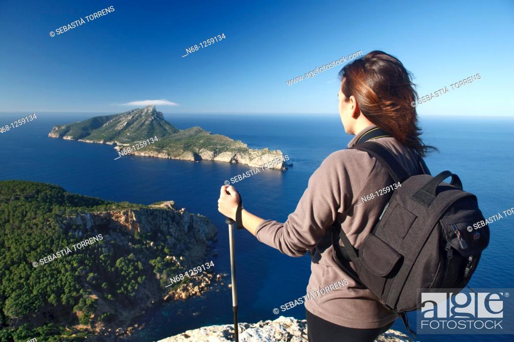 Stock Photo: Hiker watching at Sa Dragonera from Majorca, Spain.