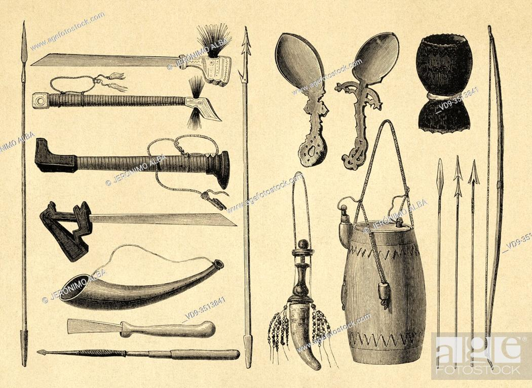 Photo de stock: Timorese weapons and tools, Timor island, Indonesia, Asia. Old engraving illustration, The Malay Archipelago by Alfred Russell Wallace.