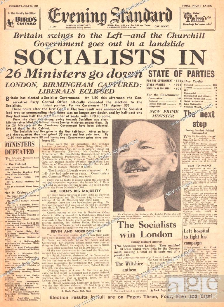 20 Evening Standard London front page reporting Clement Attlee ...