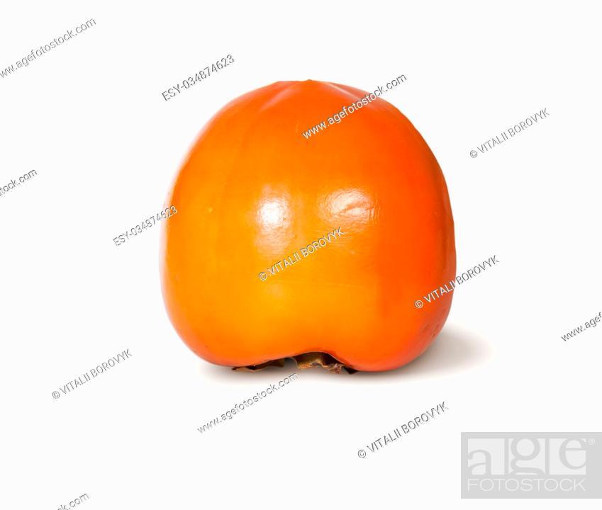 Stock Photo: Single Fresh Ripe Orange Persimmon Isolated On White Background.