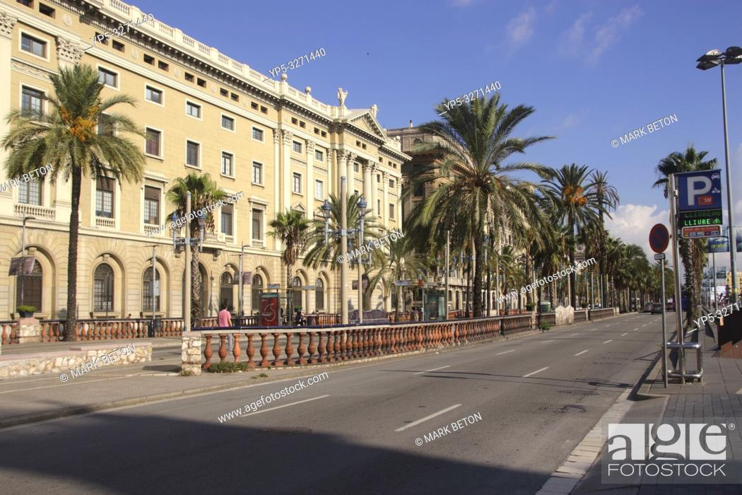 Stock Photo: View along the Passeig de Colom Barcelona Spain.