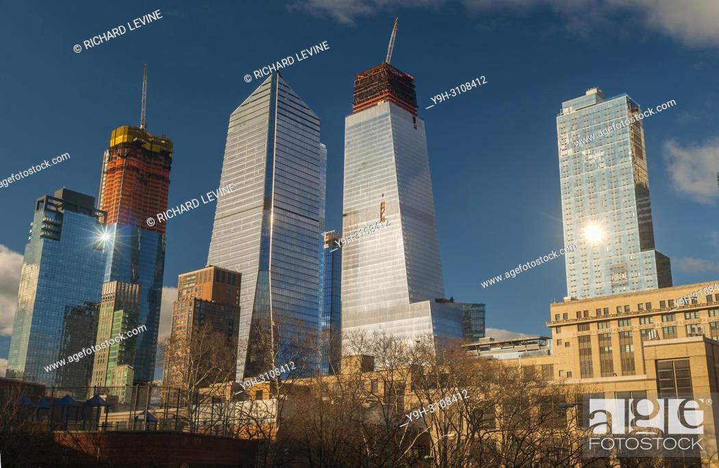 Stock Photo: 10 Hudson Yards, center left, 30 Hudson Yards, center right, and other Hudson Yards development in New York on Sunday, March 4, 2018.