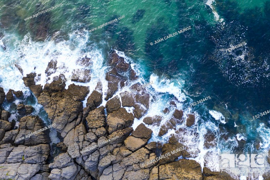 Stock Photo: Aerial View, La Ballena, Sonabia, Castro Municipality, The Way of Saint James, Cantabrian Sea, Cantabria, Spain, Europe.