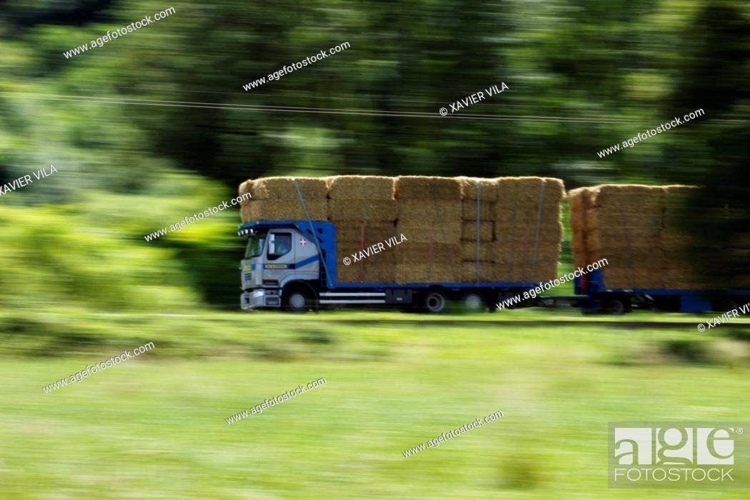 Stock Photo: Truck with straw bales driving on the road to the Savoy.Chartreuse, Isere, Rhone Alpes, Alps, France.