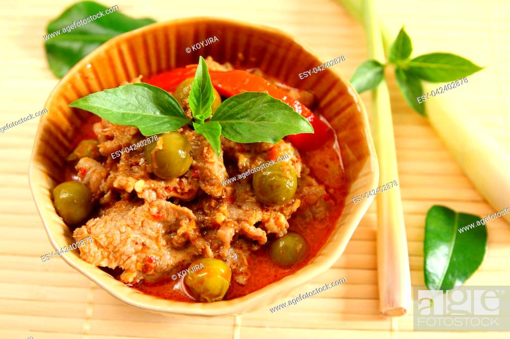 Stock Photo: Pork red curry Thai food style.