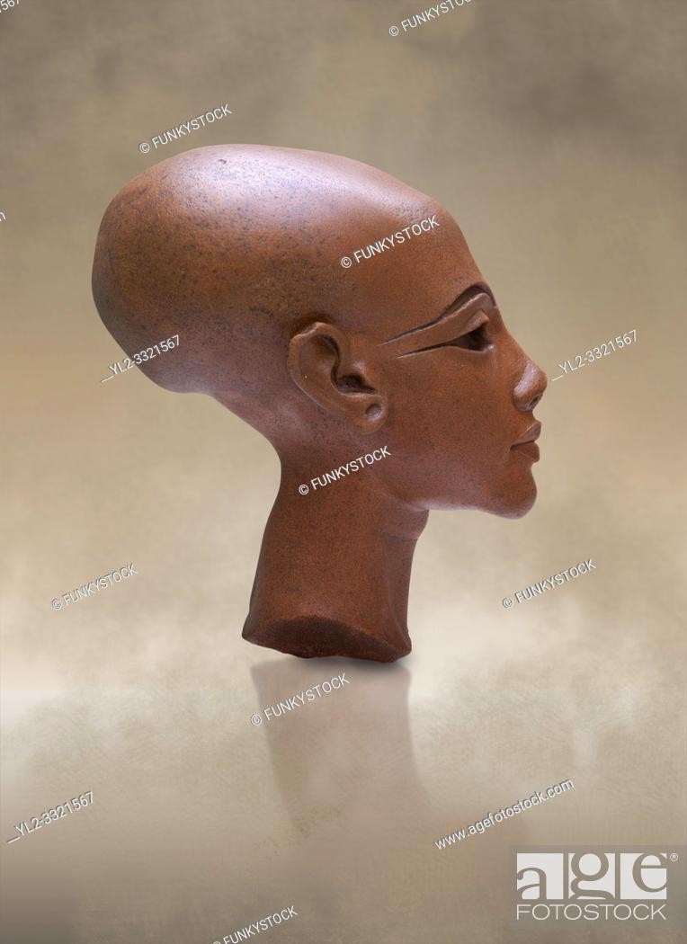 Stock Photo: Ancient Egyptian quartz statue head of princess from Amarna. 18th Dynasty Ancient Egypt, 1345 BC . Neues Museum Berlin Cat No: AM 21223.