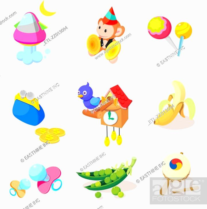 Stock Photo: Various objects and toys on a white background.
